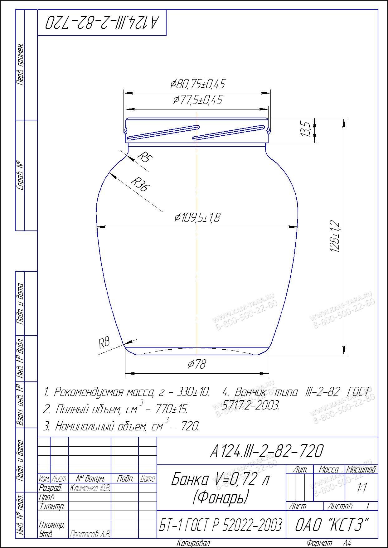 Стеклобанка A124.III-2-82-720